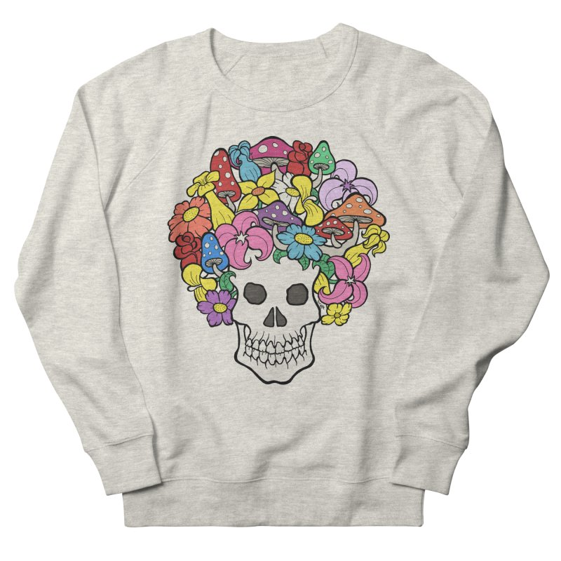 Skull with Afro made of Flowers and Mushrooms Women's French Terry Sweatshirt by brettgilbert's Artist Shop