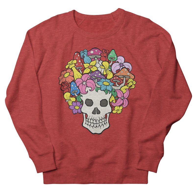 Skull with Afro made of Flowers and Mushrooms Men's French Terry Sweatshirt by brettgilbert's Artist Shop