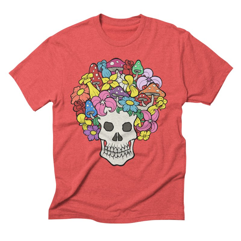 Skull with Afro made of Flowers and Mushrooms Men's Triblend T-Shirt by brettgilbert's Artist Shop