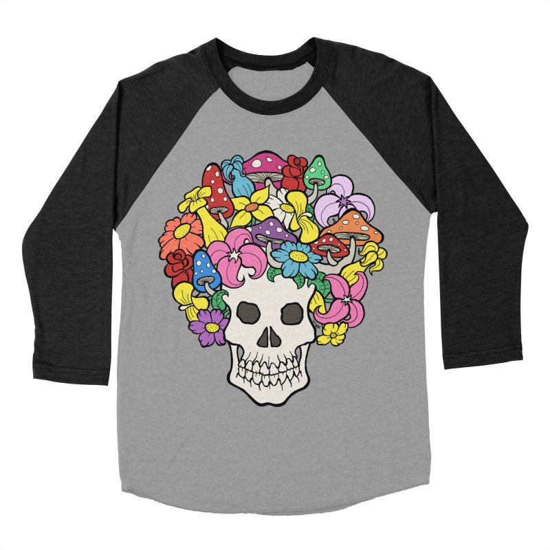 Skull with Afro made of Flowers and Mushrooms Women's Baseball Triblend Longsleeve T-Shirt by brettgilbert's Artist Shop