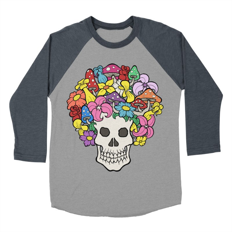 Skull with Afro made of Flowers and Mushrooms Men's Baseball Triblend Longsleeve T-Shirt by brettgilbert's Artist Shop