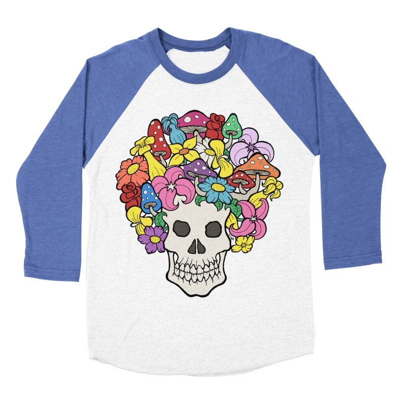 Skull with Afro made of Flowers and Mushrooms Men's Baseball Triblend T-Shirt by brettgilbert's Artist Shop
