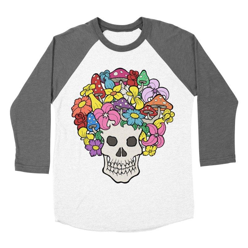 Skull with Afro made of Flowers and Mushrooms Men's Baseball Triblend T-Shirt by brettgilbert's Artist Shop