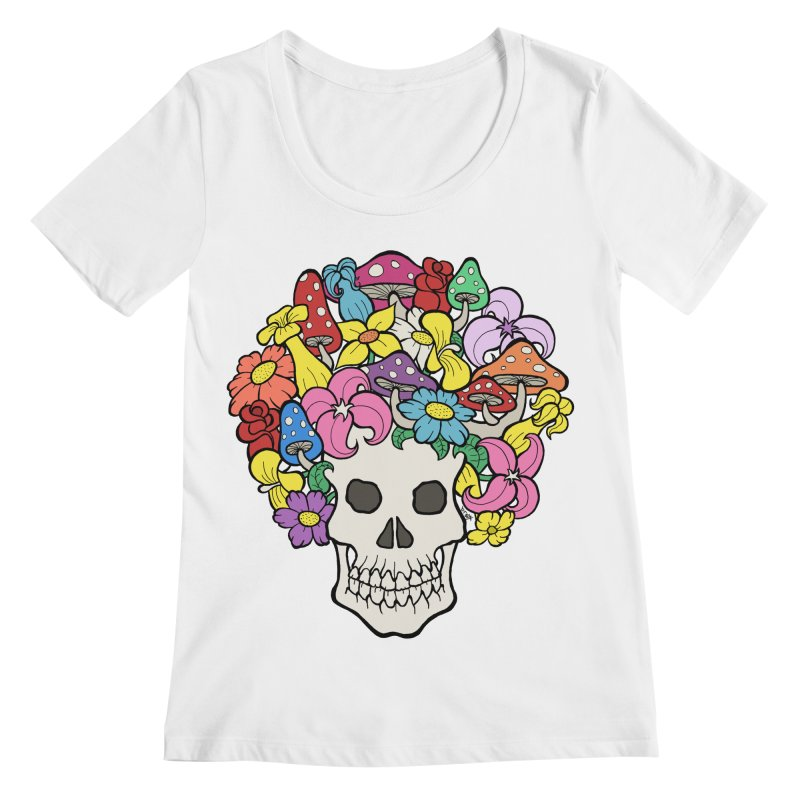 Skull with Afro made of Flowers and Mushrooms Women's Regular Scoop Neck by brettgilbert's Artist Shop