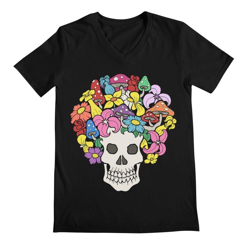 Skull with Afro made of Flowers and Mushrooms Men's Regular V-Neck by brettgilbert's Artist Shop