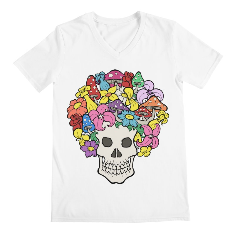 Skull with Afro made of Flowers and Mushrooms Men's V-Neck by brettgilbert's Artist Shop
