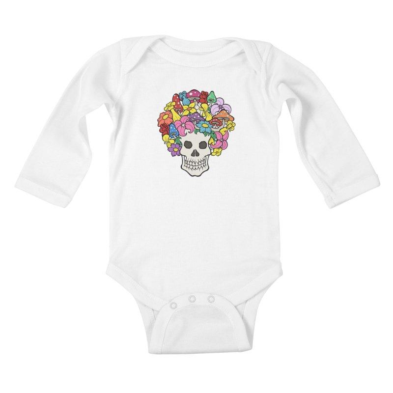 Skull with Afro made of Flowers and Mushrooms Kids Baby Longsleeve Bodysuit by brettgilbert's Artist Shop