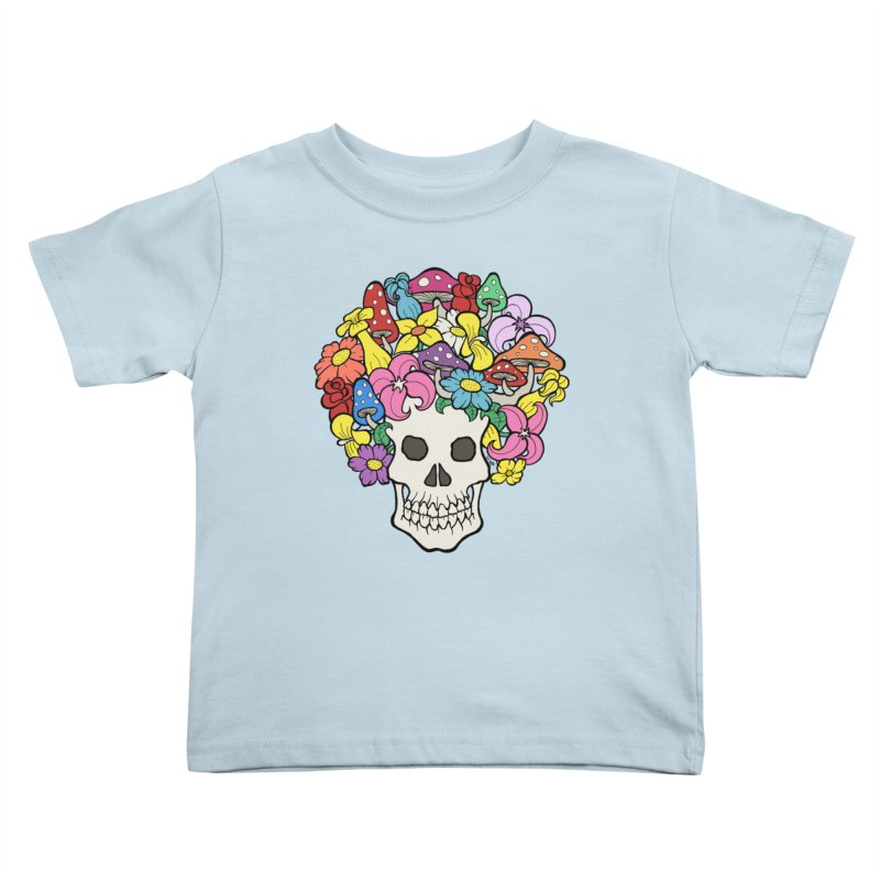 Skull with Afro made of Flowers and Mushrooms Kids Toddler T-Shirt by brettgilbert's Artist Shop