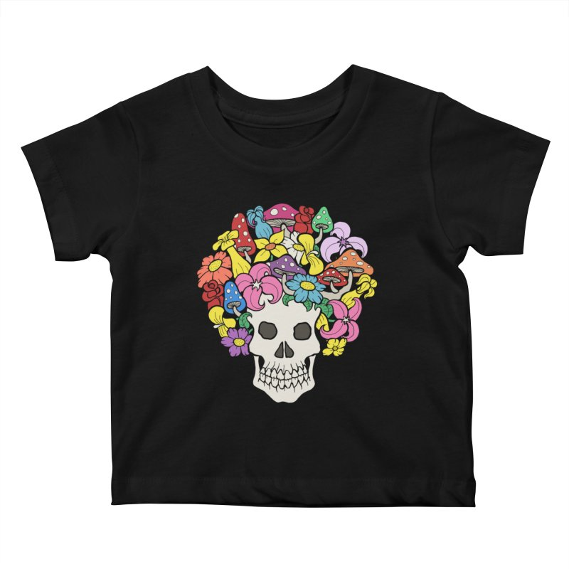 Skull with Afro made of Flowers and Mushrooms Kids Baby T-Shirt by brettgilbert's Artist Shop