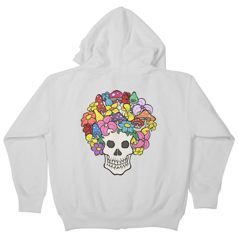 Skull with Afro made of Flowers and Mushrooms Kids Zip-Up Hoody by brettgilbert's Artist Shop