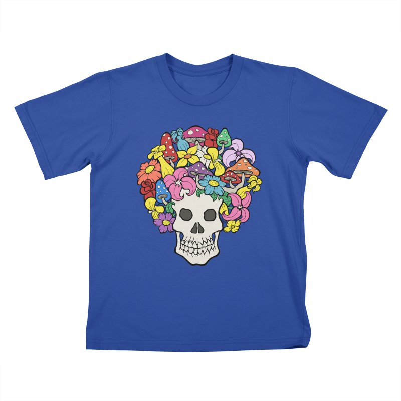 Skull with Afro made of Flowers and Mushrooms Kids T-Shirt by brettgilbert's Artist Shop