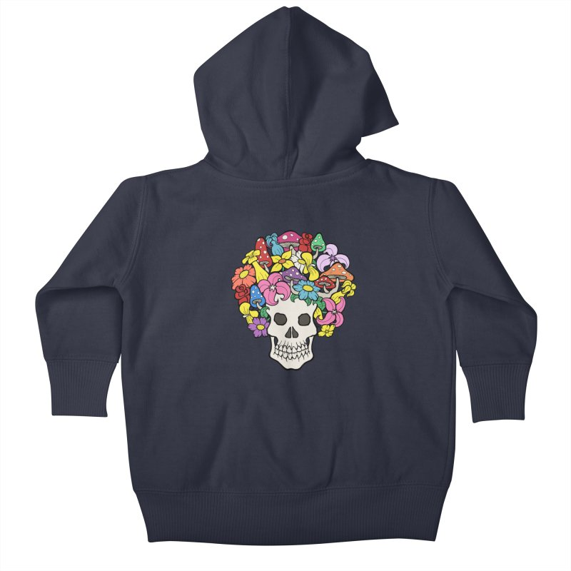 Skull with Afro made of Flowers and Mushrooms Kids Baby Zip-Up Hoody by brettgilbert's Artist Shop