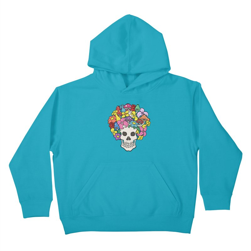 Skull with Afro made of Flowers and Mushrooms Kids Pullover Hoody by brettgilbert's Artist Shop