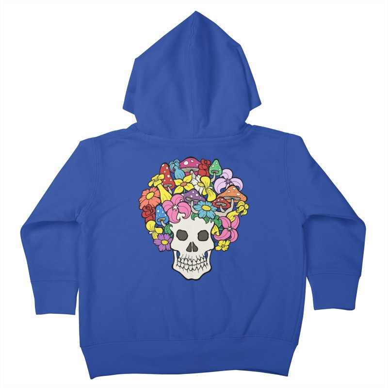 Skull with Afro made of Flowers and Mushrooms Kids Toddler Zip-Up Hoody by brettgilbert's Artist Shop
