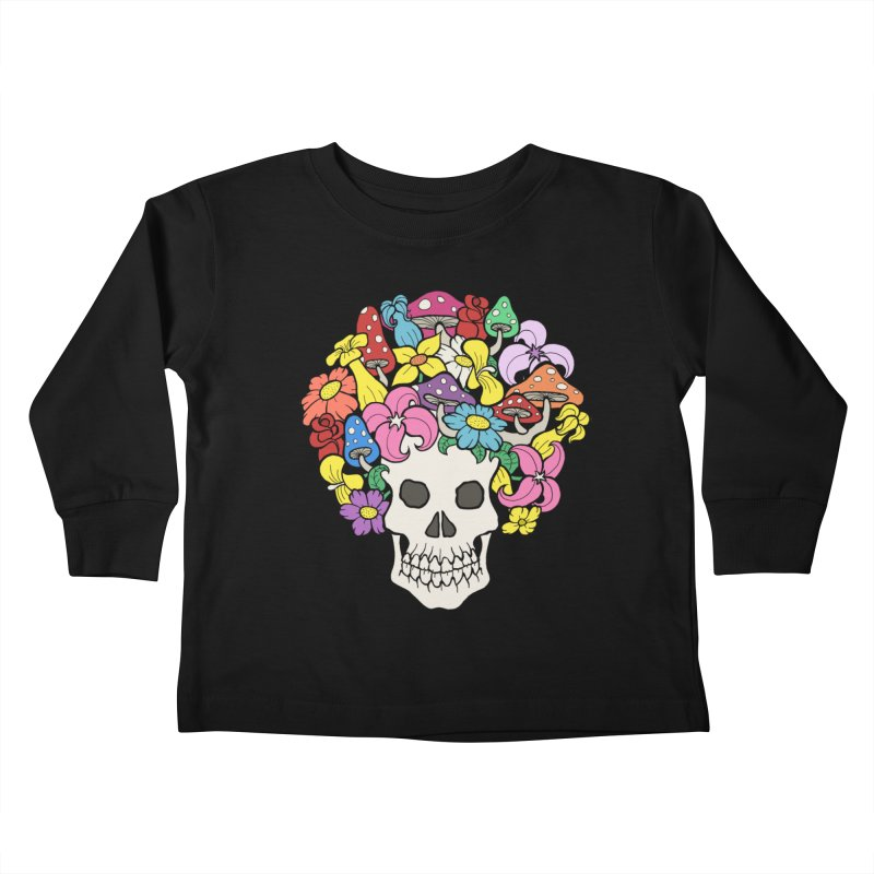 Skull with Afro made of Flowers and Mushrooms Kids Toddler Longsleeve T-Shirt by brettgilbert's Artist Shop