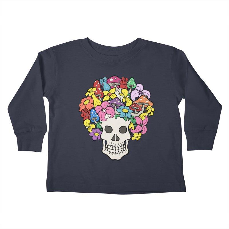 Skull with Afro made of Flowers and Mushrooms Kids Toddler Longsleeve T-Shirt by brettgilbert's Artist Shop
