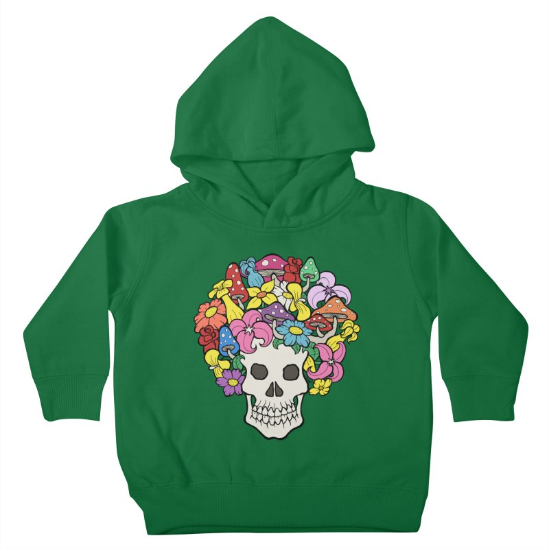 Skull with Afro made of Flowers and Mushrooms Kids Toddler Pullover Hoody by brettgilbert's Artist Shop