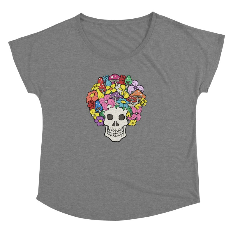 Skull with Afro made of Flowers and Mushrooms Women's Dolman Scoop Neck by brettgilbert's Artist Shop