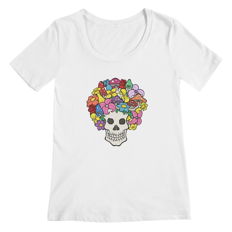Skull with Afro made of Flowers and Mushrooms Women's Scoopneck by brettgilbert's Artist Shop