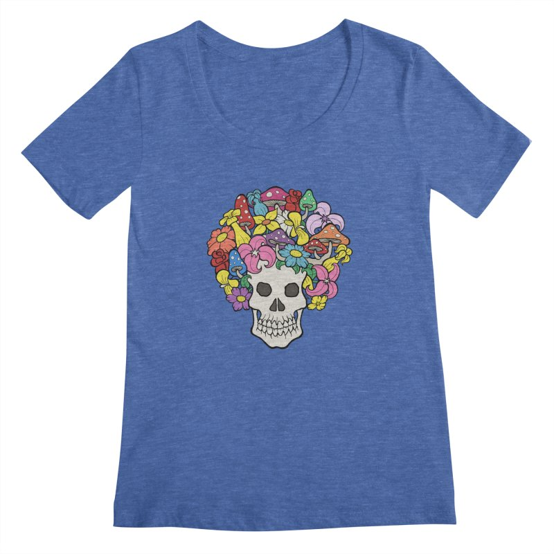 Skull with Afro made of Flowers and Mushrooms   by brettgilbert's Artist Shop