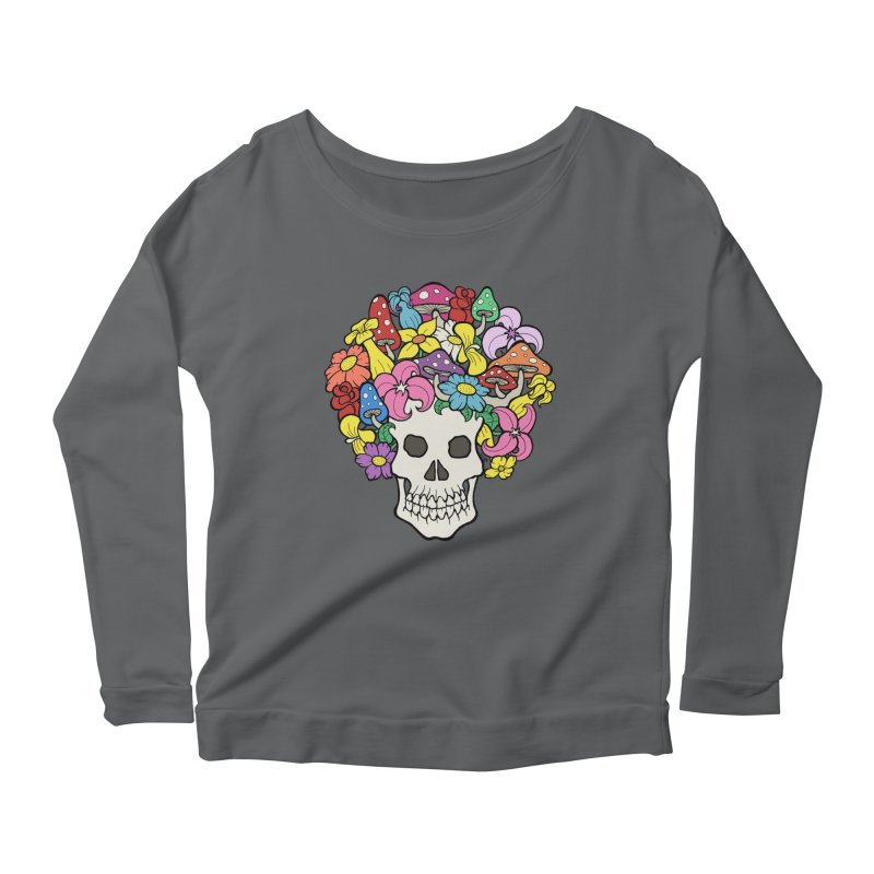 Skull with Afro made of Flowers and Mushrooms Women's Scoop Neck Longsleeve T-Shirt by brettgilbert's Artist Shop