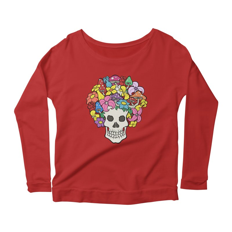 Skull with Afro made of Flowers and Mushrooms Women's Longsleeve Scoopneck  by brettgilbert's Artist Shop