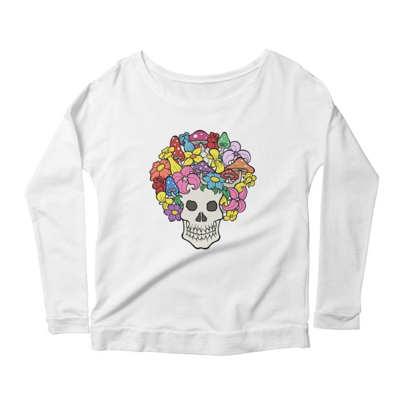 Skull with Afro made of Flowers and Mushrooms Women's Longsleeve Scoopneck  by brettgilbert's Artist Shop
