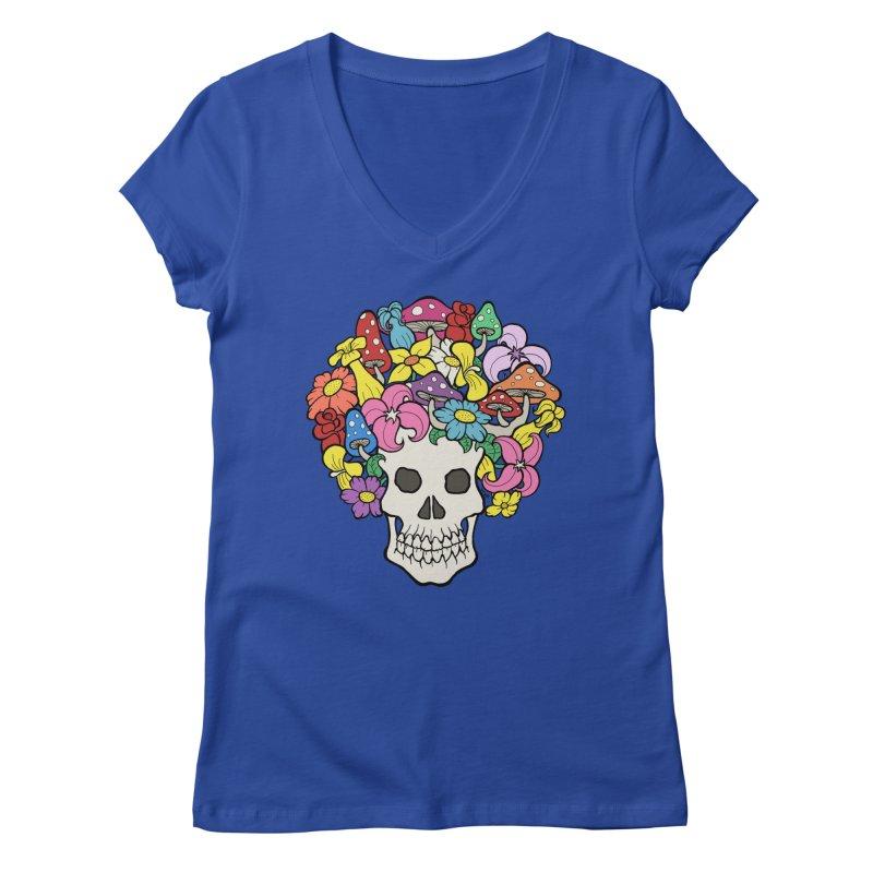 Skull with Afro made of Flowers and Mushrooms Women's Regular V-Neck by brettgilbert's Artist Shop