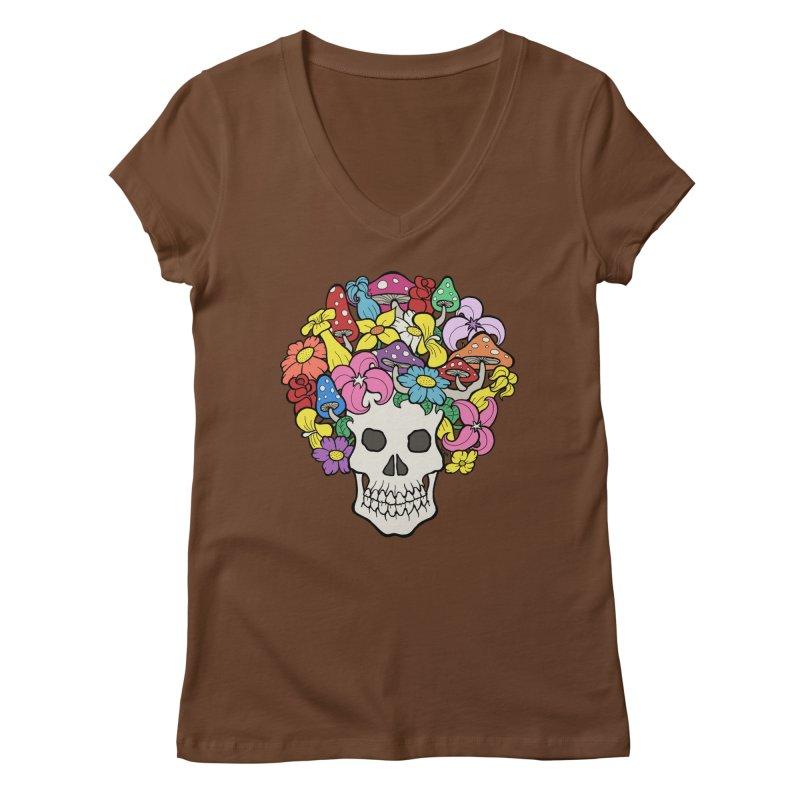 Skull with Afro made of Flowers and Mushrooms Women's V-Neck by brettgilbert's Artist Shop