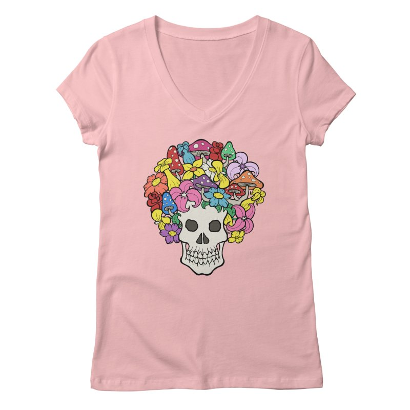 Skull with Afro made of Flowers and Mushrooms Women's V-Neck by brettgilbert's Artist Shop