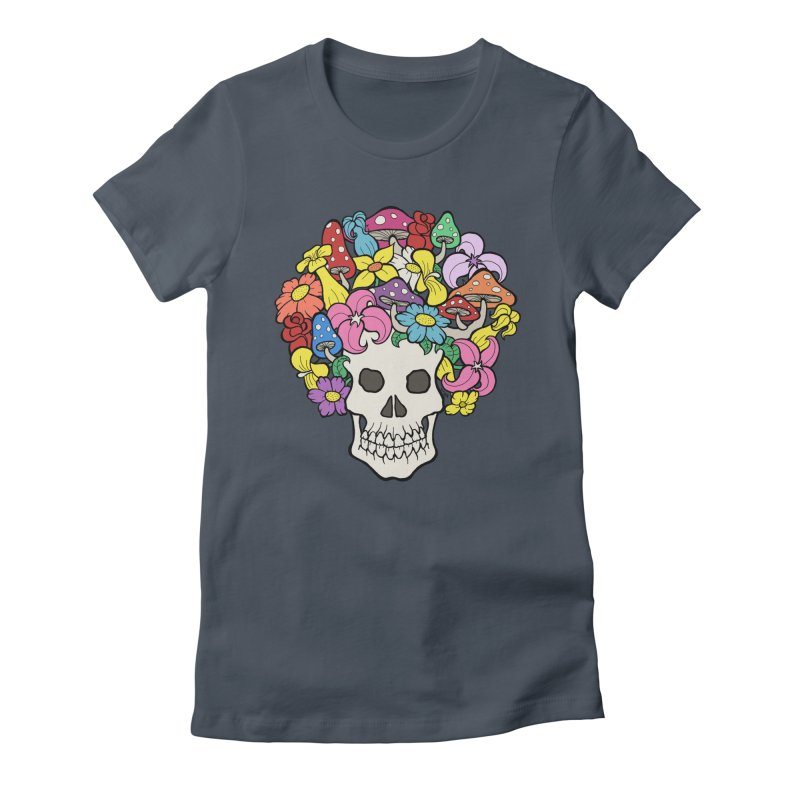 Skull with Afro made of Flowers and Mushrooms Women's T-Shirt by brettgilbert's Artist Shop