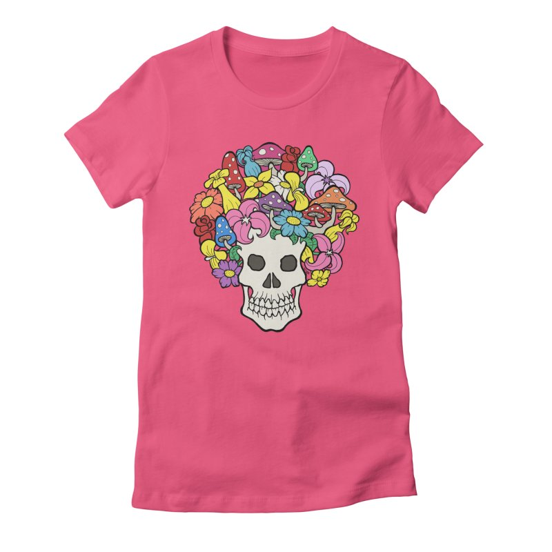 Skull with Afro made of Flowers and Mushrooms Women's Fitted T-Shirt by brettgilbert's Artist Shop