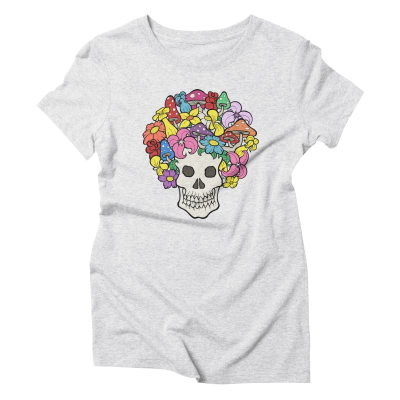 Skull with Afro made of Flowers and Mushrooms Women's Triblend T-Shirt by brettgilbert's Artist Shop