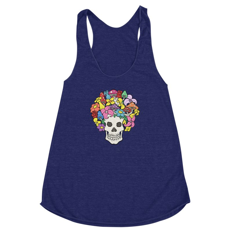 Skull with Afro made of Flowers and Mushrooms Women's Racerback Triblend Tank by brettgilbert's Artist Shop