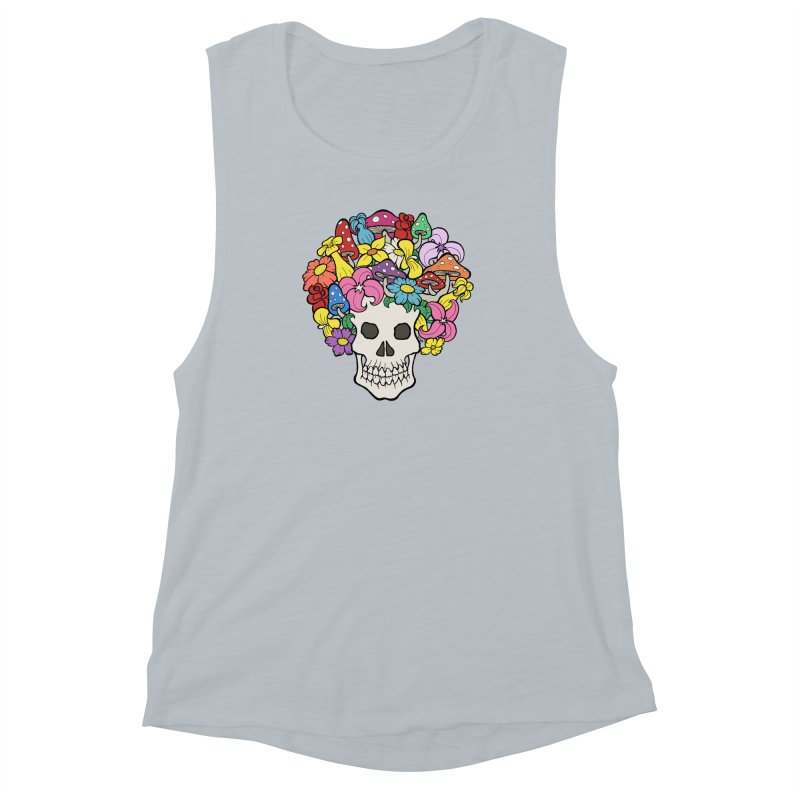 Skull with Afro made of Flowers and Mushrooms Women's Muscle Tank by brettgilbert's Artist Shop