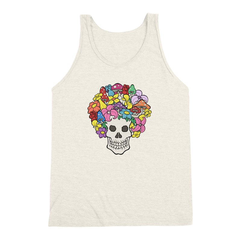 Skull with Afro made of Flowers and Mushrooms Men's Triblend Tank by brettgilbert's Artist Shop