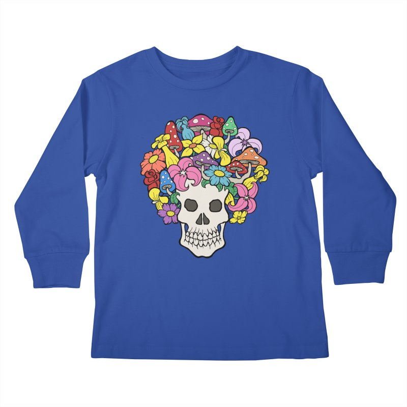 Skull with Afro made of Flowers and Mushrooms Kids Longsleeve T-Shirt by brettgilbert's Artist Shop