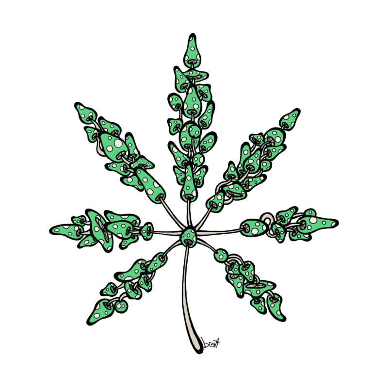 Leaf Made of Mushrooms (green version) by brettgilbert's Artist Shop