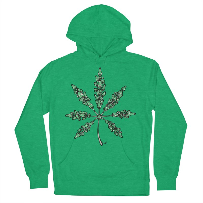 Leaf Made of Mushrooms (green version) Women's French Terry Pullover Hoody by brettgilbert's Artist Shop