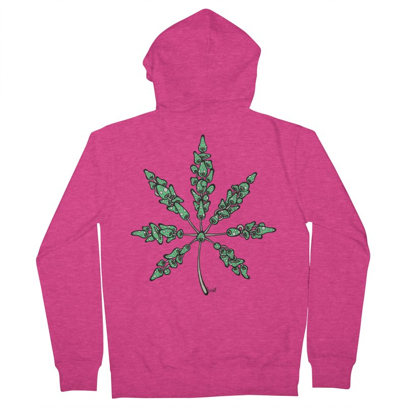 Leaf Made of Mushrooms (green version) Women's French Terry Zip-Up Hoody by brettgilbert's Artist Shop