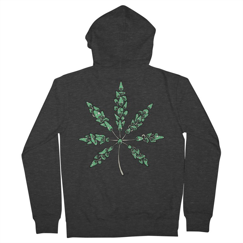 Leaf Made of Mushrooms (green version) Men's French Terry Zip-Up Hoody by brettgilbert's Artist Shop