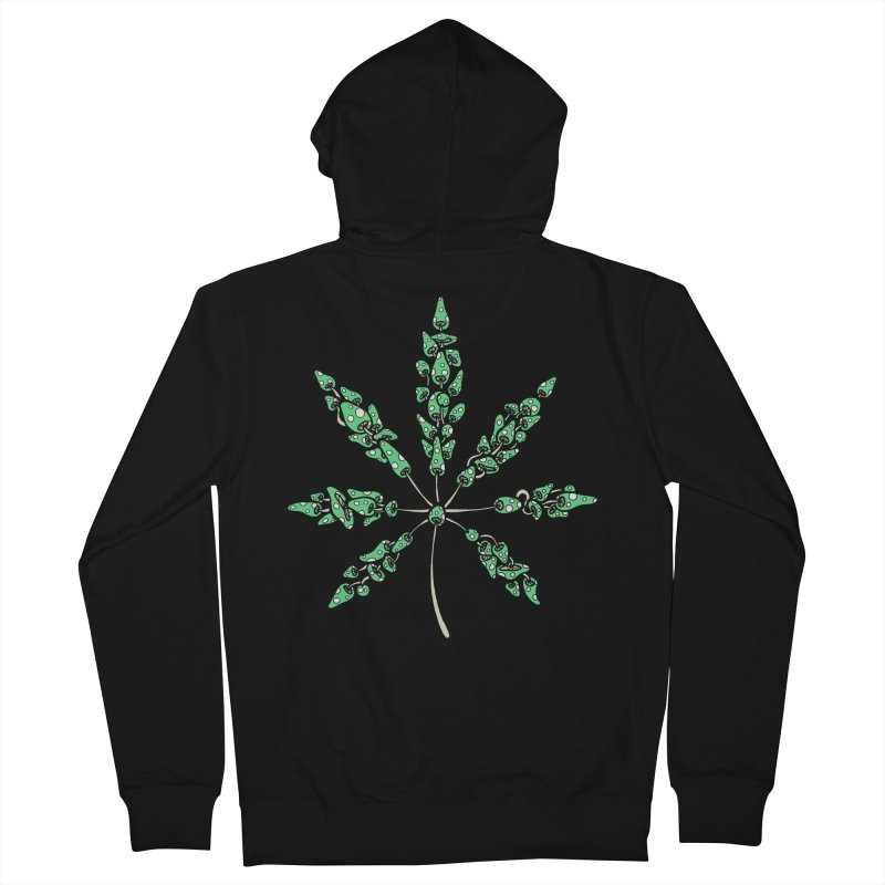 Leaf Made of Mushrooms (green version) Men's Zip-Up Hoody by brettgilbert's Artist Shop