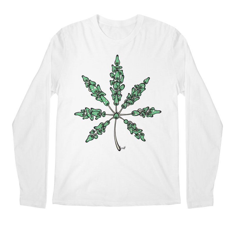 Leaf Made of Mushrooms (green version) Men's Regular Longsleeve T-Shirt by brettgilbert's Artist Shop