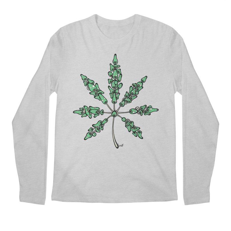 Leaf Made of Mushrooms (green version) Men's Longsleeve T-Shirt by brettgilbert's Artist Shop