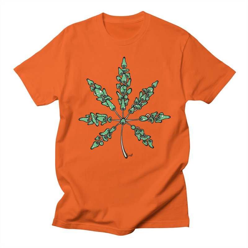 Leaf Made of Mushrooms (green version) Men's Regular T-Shirt by brettgilbert's Artist Shop