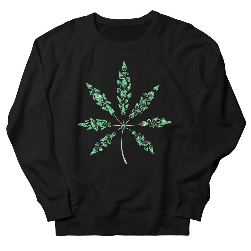 Leaf Made of Mushrooms (green version) Women's French Terry Sweatshirt by brettgilbert's Artist Shop