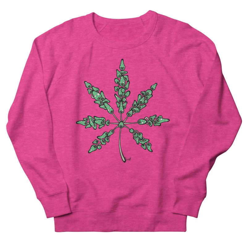 Leaf Made of Mushrooms (green version) Men's French Terry Sweatshirt by brettgilbert's Artist Shop