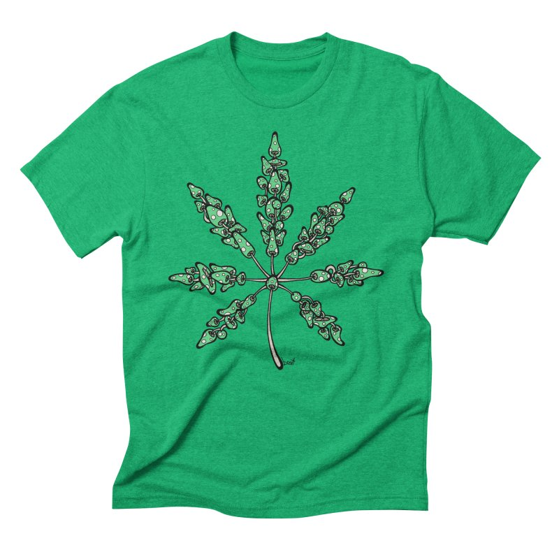 Leaf Made of Mushrooms (green version) Men's Triblend T-Shirt by brettgilbert's Artist Shop