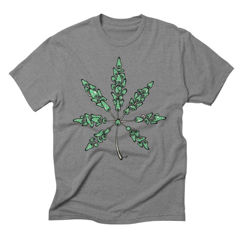 Leaf Made of Mushrooms (green version) Men's Triblend T-shirt by brettgilbert's Artist Shop