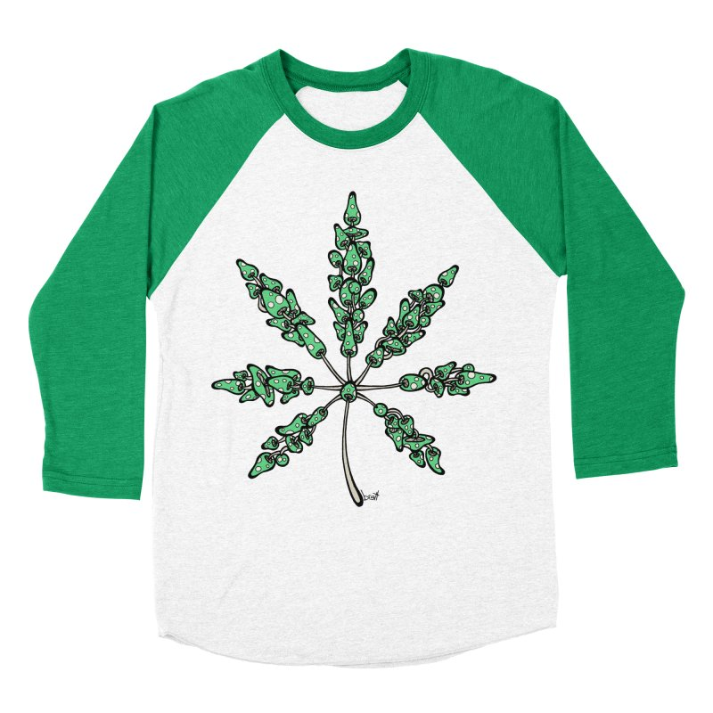 Leaf Made of Mushrooms (green version) Women's Baseball Triblend T-Shirt by brettgilbert's Artist Shop